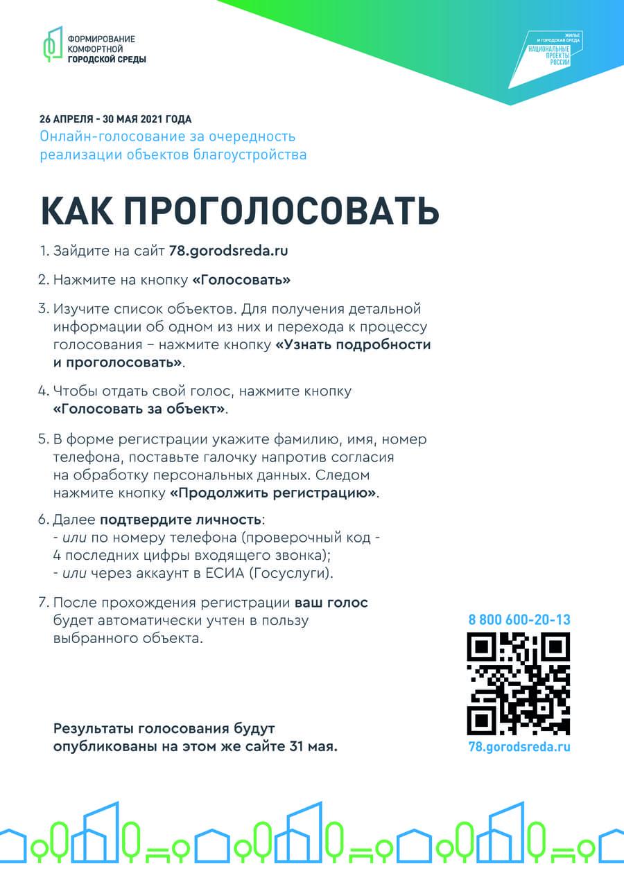 Как проголосовать за очередность реализации объектов благоустройства Санкт-Петербурга